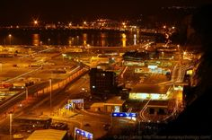 Night Panorama of Ferry Terminal and Eastern Docks of Dover Harbour, Kent, UK