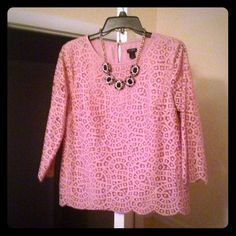 J.Crew Dusty Pink Lace Blouse W/ Scalloped Hem J.Crew Dusty Pink Lace Blouse W/ Scalloped Hem. GORGEOUS! Only worn once and in PERFECT condition! VERY versatile! True to size! Open to offers! J. Crew Tops Blouses