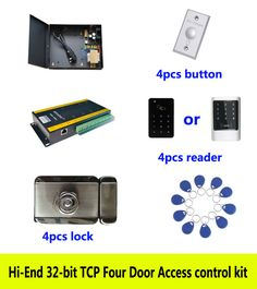 Hi-end 32-bit access control kit,TCP/IP four door power intelligent lock ID touch keypad reader exit button 10 ID tag,kit-AT409