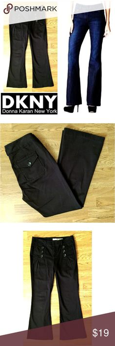 "Trouser Jean DKNY jeans These cute DKNY trouser jeans are perfect for any occasion!Dark charcoal black cotton with 2% spandex for stretch fit. Decorative 3 buttons on each front pocket, buttoned back pockets. Trouser jeans fit. Size 4, 29"" inseam, Model shows fit only. Dress up or down with boots and sweaters sneakers and tees.... Possibilities are endless! In EXCELLENT condition NO DAMAGES. Grab yours for less and look sexy in DKNY! DKNY Jeans"