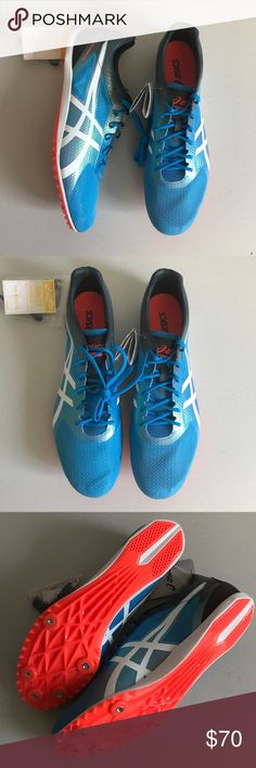 """Asics Men's Blue Cosmoracer Track Sneakers Manufacturer Color is Jet Blue/White/Dark Slate. New with box. Heel Height is approx 1/2"""". Lace-up. Synthetic material. Mesh fabric. Faux Leather Trim. Spikes and Tool Included. Thank you for your interest! Asics Shoes Athletic Shoes"""