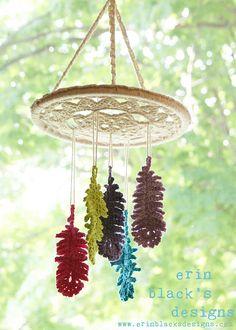 DIY Crochet PATTERN - Dreaming of Feathers Wall Hanging dream catcher, crochet pattern, baby mobile, crochet wall art, macrame - women Life ideas Diy Crochet Patterns, Crochet Diy, Crochet Home, Love Crochet, Crochet Gifts, Beautiful Crochet, Crochet Flowers, Crochet Stitches, Crochet Projects