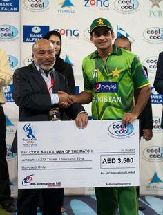 Muhammad Hafeez as Man of the Match vs Australia 1st Twenty20 at Dubai 5 September 2012