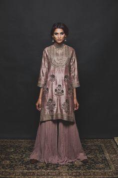 ash pink short kurta in raw silk with zari and sequins embroidery gharara in georgette and embroidered chanderi dupatta. radhika airi