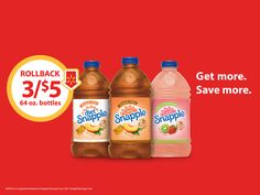 #ad 3/$5 Rollback on 64 oz. Snapple Peach, Diet Peach, and Kiwi Strawberry ONLY at Walmart! #SnappleRollback #Walmart