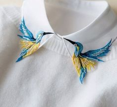 Newly Design Fashion Heavy bird embroidery necklace vest blouse Shirt false Collar neck Women Detachable Vertical Small Lapel - Shirt Casuals - Ideas of Shirt Casual - Newly Design Fashion Heavy bird embroidery necklace vest blouse Shirt eefury Bird Embroidery, Embroidery Fashion, Hand Embroidery Patterns, Embroidery Dress, Embroidery Stitches, Embroidery Designs, Sewing Patterns, Beginner Embroidery, Embroidery Sampler