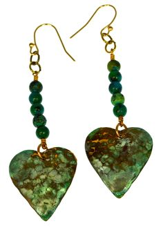 Patina Brass Hand Hammered Heart Dangle Earrings - Chrysocolla. Patina Brass Hand Hammered Heart Dangle Earrings - Chrysocolla. Earrings are .9 inch wide by 1 inch high (dangle to 2.5 inches). 24k Gold Plated Brass French Wire (Pierced) Closures.