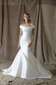 Modern elegant off the shoulder wedding dress by Lela Rose