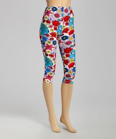 This Pink & Yellow Bright Bouquet Seamless Capri Leggings is perfect! #zulilyfinds