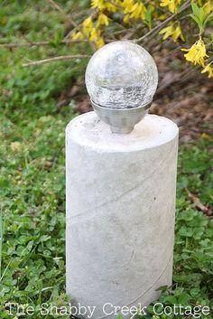 DIY industrial style concrete pillar solar lights