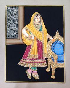 Indian Maharani Queen Miniature Painting Handmade Rajput Rajasthani Embossed Art