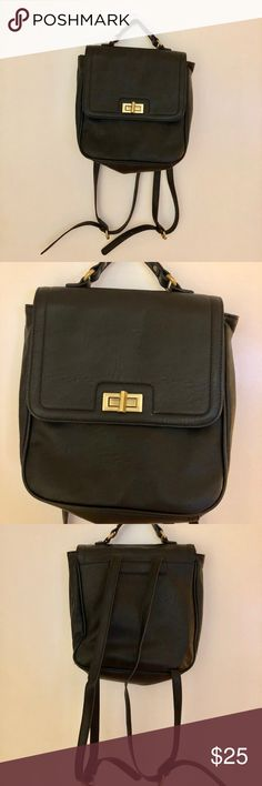 Small Black Backpack Small faux leather backpack. Has adjustable straps and clips to fit more items inside. One inside zip pocket and open pocket. Front has a large pocket as well. Only used once!! Pretty much brand new. Merona Bags Backpacks