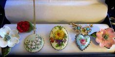 Vtg Lot 7 FLOWER Brooches Porcelain Ceramic PANETTA West Germany-Pendant #Panetta