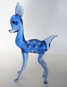 Vintage Blue Glass Fawn by AmityArtifacts on Etsy, $19.95