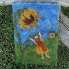 """""""Dancing With Sunflowers"""" needle felted journal cover, Waldorf style"""