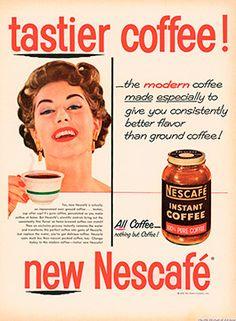 Cartel Nescafé años 50 – Anuncios vintage Nestlé                                                                                                                                                      Más