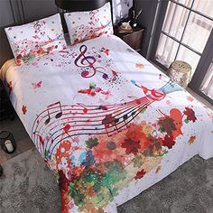LOVE(TM) Watercolor Duvet Cover Set Queen Size, Multicolored Hand Drawn Maple Music Note Print, Decorative 3 Bedding Set with 2 Pillow Shams)(No Comforter inside) Music Bedroom, Bedroom Decor, Duvet Cover Sets, Throw Pillow Covers, Cute Diy Room Decor, Music Decor, Blue Bedding, Room Themes, Comforter Sets