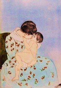 Mothers Kiss (1890). Mary Cassatt.