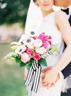 Gorgeous Pink Bouquet with Black and White Striped Ribbons   Jordan Brittley Photography   http://heyweddinglady.com/whimsical-kate-spade-wedding-black-tie/