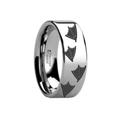 Thorsten Dinosaur Raptor Velociraptor Prehistoric Paleo Print Pattern Ring Inside Engraved Black Tungsten Ring 4mm Wide Wedding Band Custom Inside Engraved Personalized from Roy Rose Jewelry