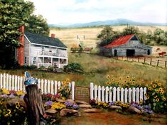 Folk Art Print original Landscape Oil Painting Arie by jagartist, $35.95