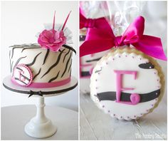 Monogrammed {Hot Pink & Black Zebra} Cake+Cookie Favors by: The Pastry Studio