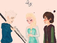 Jack flirting with Elsa, Hiccup being jealous