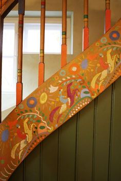 Beautiful painted horses by Kandinsky on staircase in the Münter-Haus, Murnau Stairs Stringer, Escalier Design, Painted Stairs, Hand Painted Furniture, Repurposed Furniture, Furniture Ideas, My Dream Home, Decoration, Sweet Home