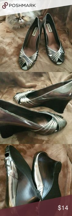 High heel open toe wedges Metallic pewter high heeled open toe wedges...excellent condition, worn one season (4-5 times) Steve Madden Shoes Heels