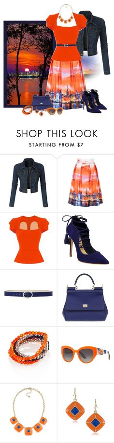 """""""Autumn Sunset Over the City"""" by love-n-laughter ❤ liked on Polyvore featuring LE3NO, WithChic, Roland Mouret, Schutz, Steve Madden, Dolce&Gabbana, Accessory PLAYS and 1st & Gorgeous by Carolee"""