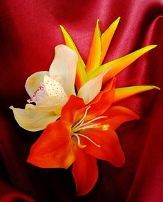 TROPICAL HAIR CLIP  Hawaiian Orchids Hair piece by MalamaPua, $29.99