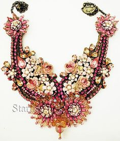 Just WOW!!!  Michal Negrin Vintage Style Crystals Beads Roses Lace Necklace | eBay