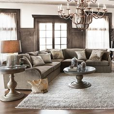 """Family room- Leeward 123"""" Three Piece Upholstered Sectional In Vernon Mink"""