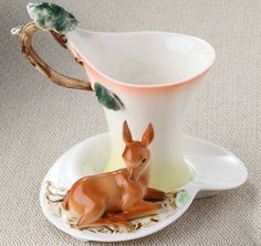 Bambi Deer demitasse cup and saucer & Spoon Set (3 Pcs)