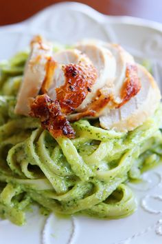 pasta with chicken and pesto cream sauce | homemade pesto made with fresh basil, parmesan cheese, olive oil, garlic and pine nuts