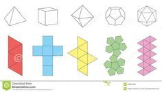 Illustration about Five platonic solids, three-dimensional figures and corresponding nets. Isolated vector illustration over white background. Illustration of pink, object, dimensional - Solids Paper Model Template Stock Vector - Ill Diy Origami, Paper Crafts Origami, Diy Paper, 3d Shapes, Geometric Shapes, Eco Deco, Platonic Solid, Paper Wall Art, Concrete Crafts