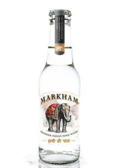 Markham Premium Indian Tonic Water by Osborne Cool Packaging, Bottle Packaging, Brand Packaging, Packaging Design, Horchata, Gin Bottles, Vodka Bottle, Tostadas, Tonic Water Brands