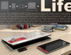 """The """"Life Book"""". This eally smart design puts four electronic devices into one. A tablet, phone, camera and computer. Great concept!"""