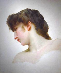 Study of a Blonde Woman's Profile,   William Adolphe Bouguereau.  French Academic Painter (1825-1905)