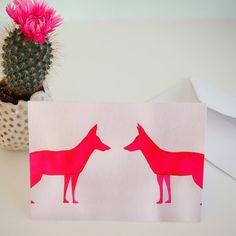 Fox card free shipping arty card birthday card for by Kabinshop
