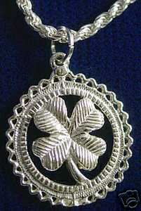 White Gold Plated Irish Four Leaf Clover Charm Celtic Sterling Silver 925 Jewelry