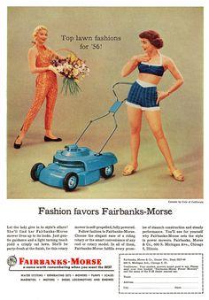 A fashionable lawn mower by Fairbanks-Morse, 1956
