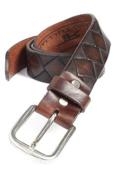 Remo Tulliani 'Dino' Leather Belt available at ~ Make this in black with green and yellow diamonds AND IT IS MINE! Men Accesories, Leather Accessories, Fashion Accessories, Leather Belts, Leather Tooling, Leather Men, Men's Belts, Brown Leather, Designer Belts