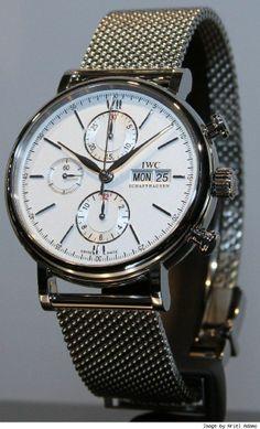 IWC Portofino Chronograph, stainless steel on milanese mesh bracelet, IW391009.