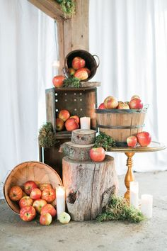 Apple Barrels and Wood - These Beautiful and Cozy Details Will Make You Want a Thanksgiving Wedding - Photos