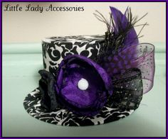 Mini Top Hat Alice in Wonderland Black and White Damask w/ Purple Accents Birthday Hat Photography Prop $24