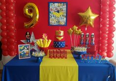 Decoracion De Fiestas Infantiles Mujer Maravilla - Pictures of Decor and Basement Girl Birthday Decorations, 5th Birthday Party Ideas, Kids Birthday Themes, Party Themes, Wonder Woman Cake, Wonder Woman Birthday, Wonder Woman Party, Anniversaire Wonder Woman, Girl Superhero Party