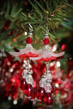 Christmas Lucite Flower Earrings. $16.00, via Etsy.