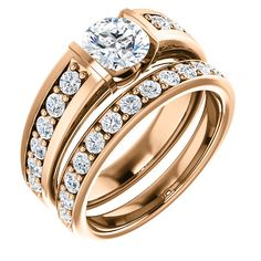 10kt Rose Gold 6mm Center Round Cubic Zirconia and 12 Accent Round Diamonds Bridal Ring Set...(ST122056:135:P).! Price: $769.99 #diamonds #rosegold #bridalringset #gold