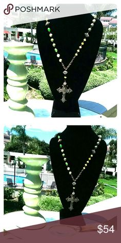 """36"""" VINTAGE COPPER & GREEN CUSTOM CROSS NECKLACE! 36"""" VINTAGE COPPER & GREEN CUSTOM DESIGNED CROSS NECKLACE !  IT IS ENTIRELY ABLE TO CLASP AT ANY LENGTH OF YOUR CHOOSING!! custom Jewelry Necklaces"""